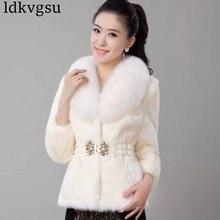 Новинка, осенне-зимнее пальто, женская одежда, имитация меха норки, куртка, модное пальто, тонкий воротник из лисьего меха, женские пальто A1479