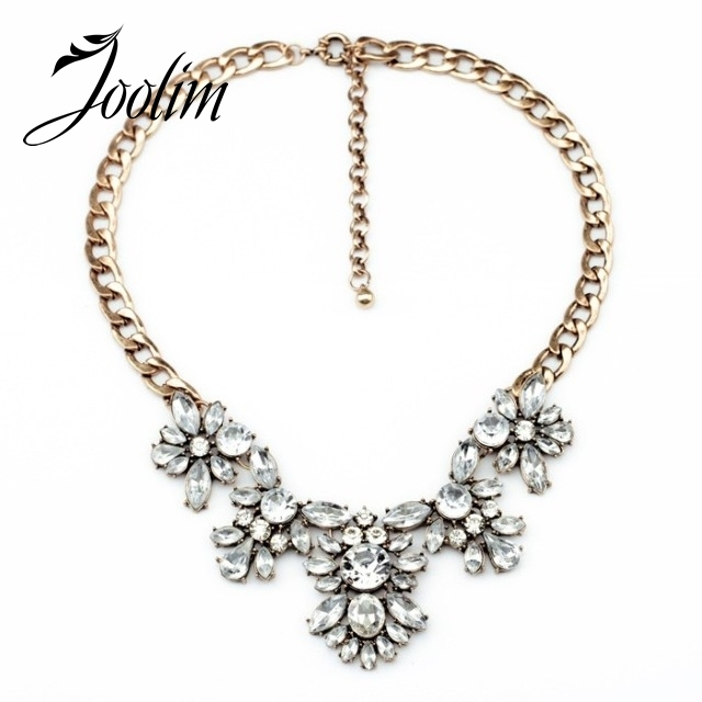 JOOLIM Gorgeous Clear Glass Flower Choker Necklace Charm Necklace  Statement Collar Necklace Free Shipping