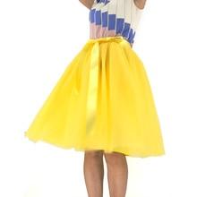 Custom Made Tulle Skirts Womens Yellow Adult TUTU Skirt Elastic High Waist Pleated Midi 60CM