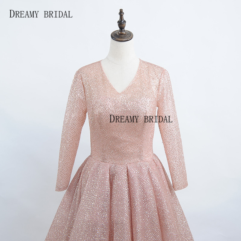 Dreamy Bridal Rose Gold Evening Dresses Glitter Sparking Robe De Soiree  Long Sleeves Deep V Neck Formal Gowns Custom Made a61d18a7fed3