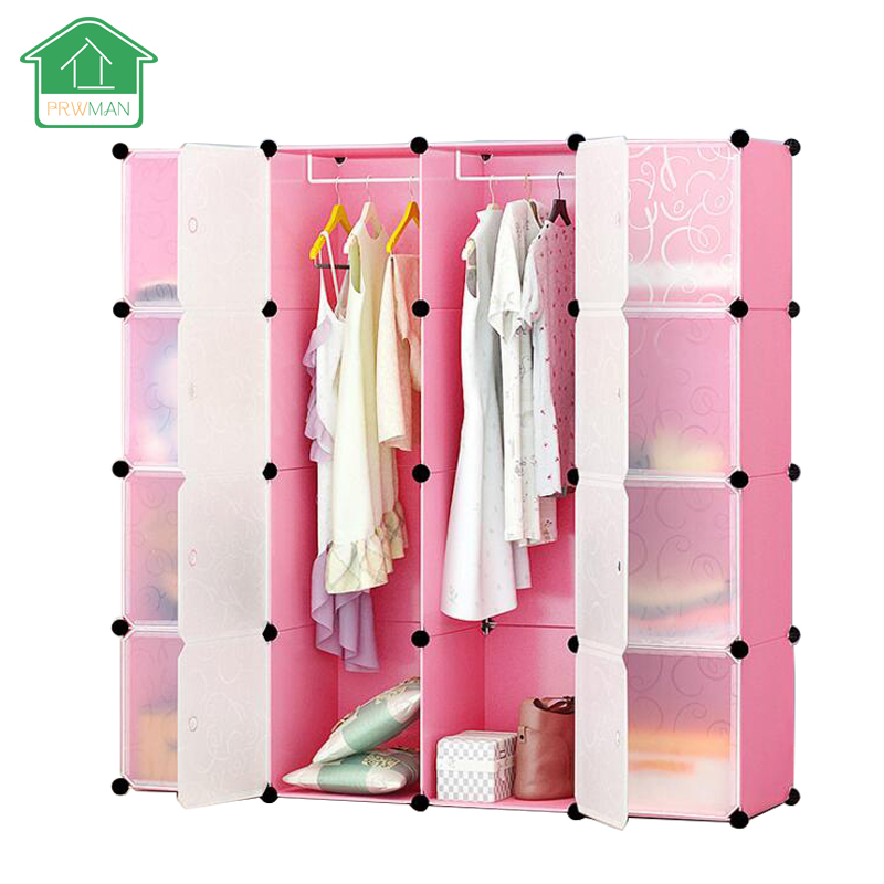 PRWMAN 16 Cube 2PC Hook DIY Pink Piece of Resin Storage Cabinets Bedroom Wardrobe Furniture Assembly Dormitory Student Wardrobe