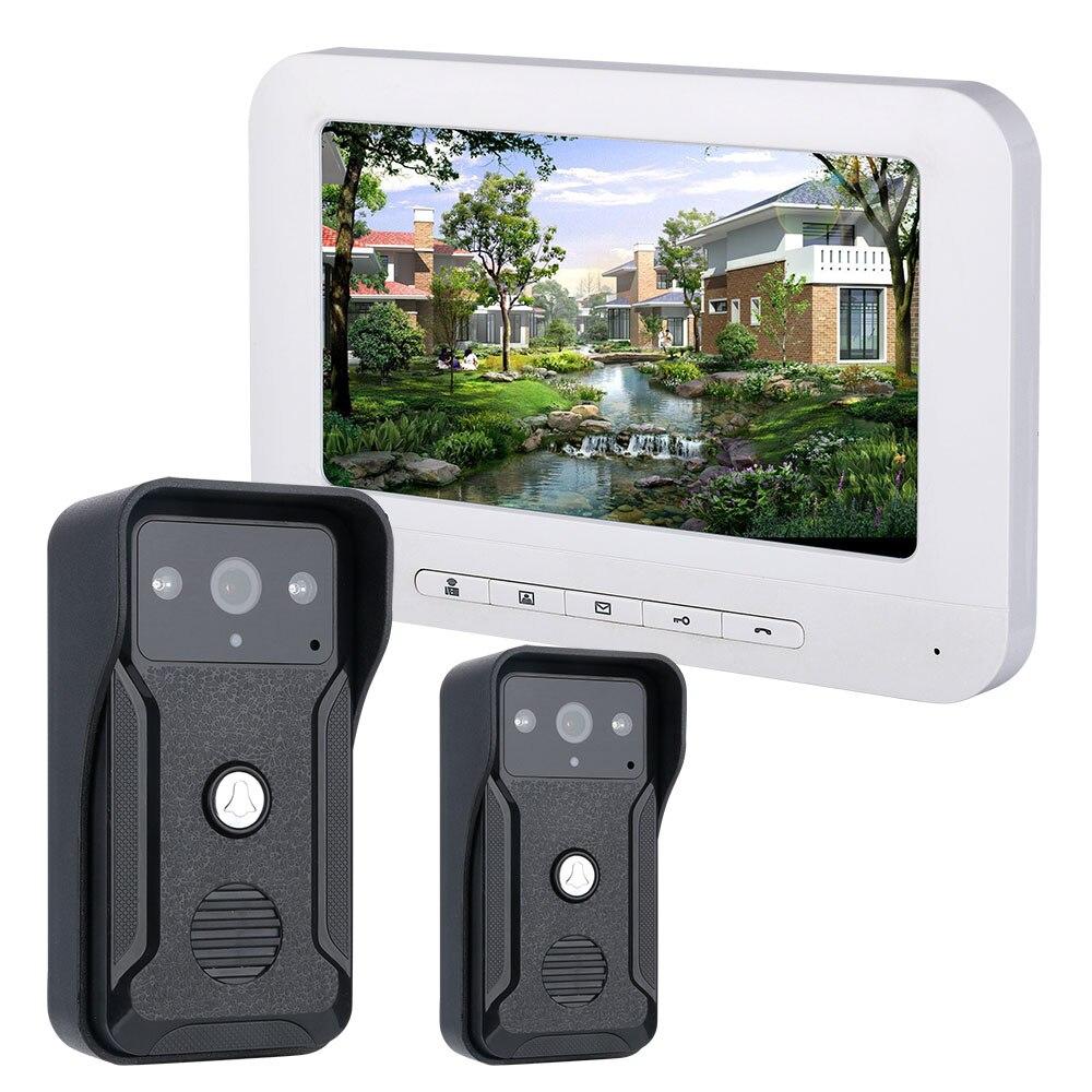 7 Inch Video Door Phone Doorbell Intercom Kit 2-camera 1-monitor Night Vision With 700TVL Camera
