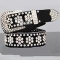 Las mujeres de moda cinturón de cuero con bling bling Rhinestone amplia dorar la correa de cuero genuino