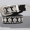 Women fashion leather belt  with  bling bling  Rhinestone wide gild genuine leather belt