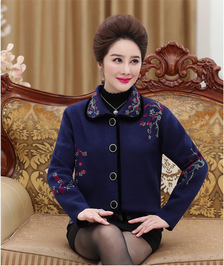 2019 mi-vieilli et vieux grand-mère automne et hiver 50-60-70 ans chandail cardigan épaissi tricoté veste blouse