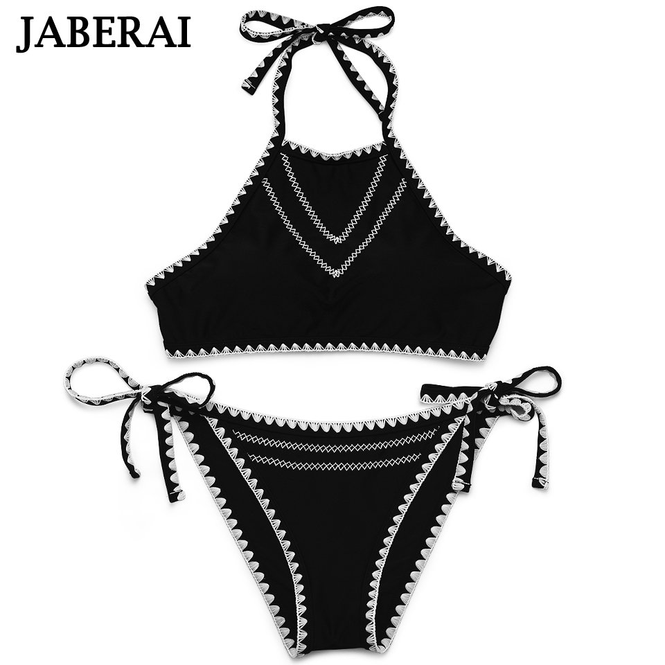 JABERAI Sexy High Neck Bikini Swimwear Women Bandage Push Up Bikinis Solid Black Sporty Tank Top Crochet Swimsuit Bathing Suit tank heart bandage crochet bikini blue black pink push up swimwear women sexy swimsuit beachwear bikinis set bathing suits