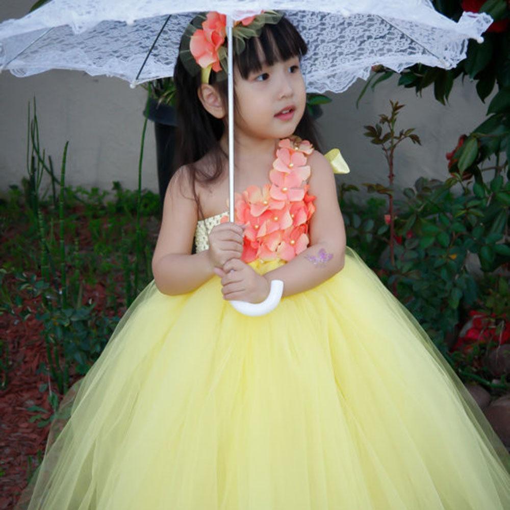Yellow Princess Flower Girl Dress With Headband Little Flower Girl