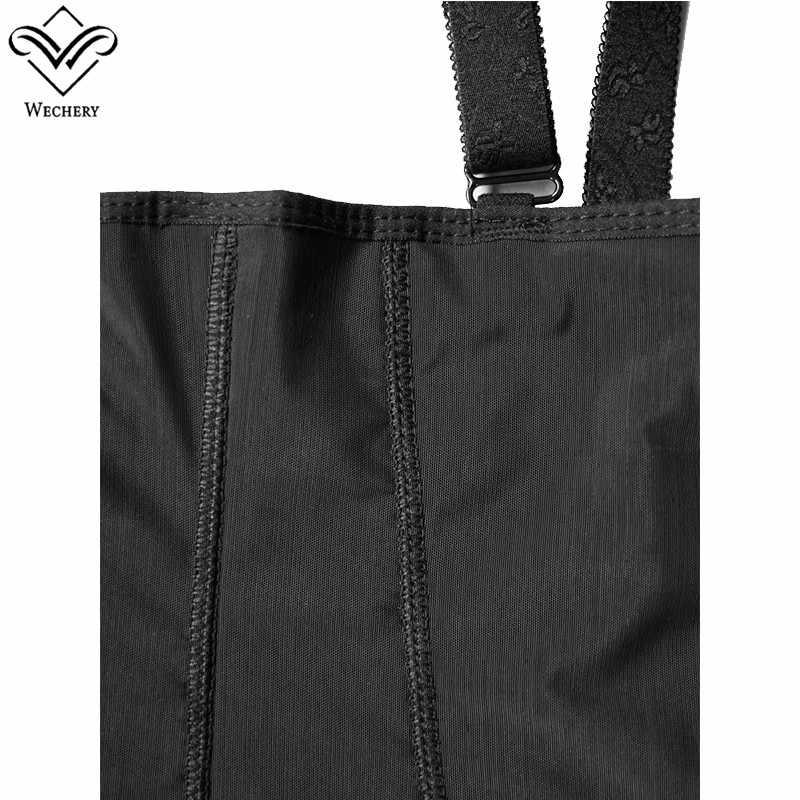 Wechery Abnehmen Unterwäsche Shaper für Frauen Plus Größe 6XL Zipper Unterbrust Body Schwarz Korsett Shapewear