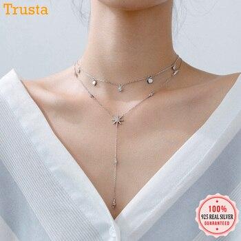 703e20fb1e1f Trusta 100% de la joyería de la plata esterlina 925 corazones flor de nieve  piedras CZ colgante gargantilla 925 Collar para mujer regalo DS1343