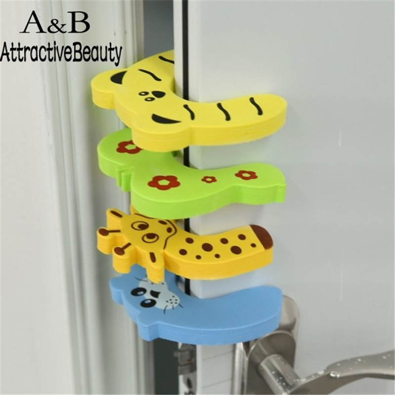 Homdox 4 Pcs Pack Baby Safety Animal Door Stop Finger Pinch Guard N30A cute monkey pattern baby safety door stopper finger pinch guard brown