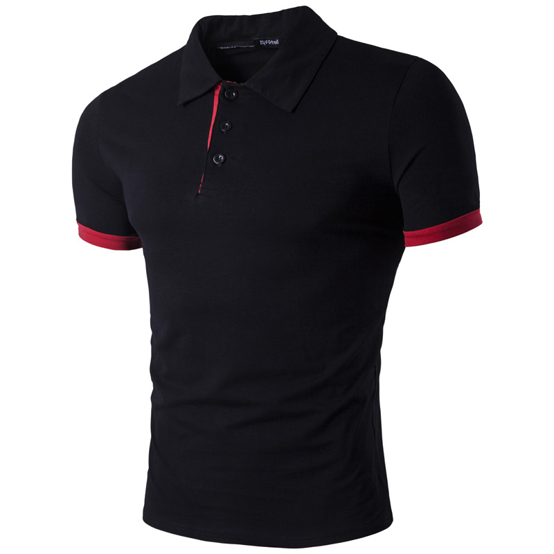 Brand Mens   Polo   Shirt 2017 Summer New Solid Color   Polo   Homme Casual Slim Fit Turn Down Collar Cotton Camisa   Polo   Black   Polos   XXL
