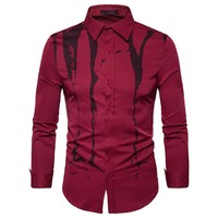 New 2018 Spring Autumn Features Ink Printing Men Shirts Casual Long Sleeve Slim Fit Shirt For