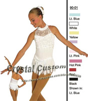 Beautiful Girls Ice Skating Dresses With Spandex White Color Graceful New Brand Figure Skating Competition Dress Custom DR2686