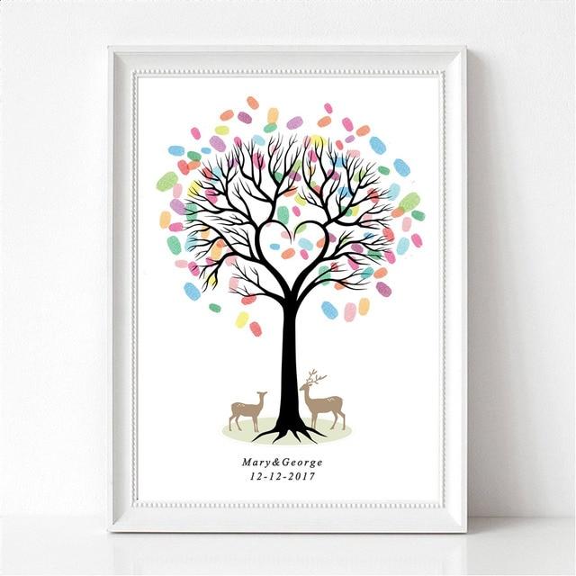 empreintes digitales de mariage partie arbre signature toile peinture d pendance de mariage. Black Bedroom Furniture Sets. Home Design Ideas