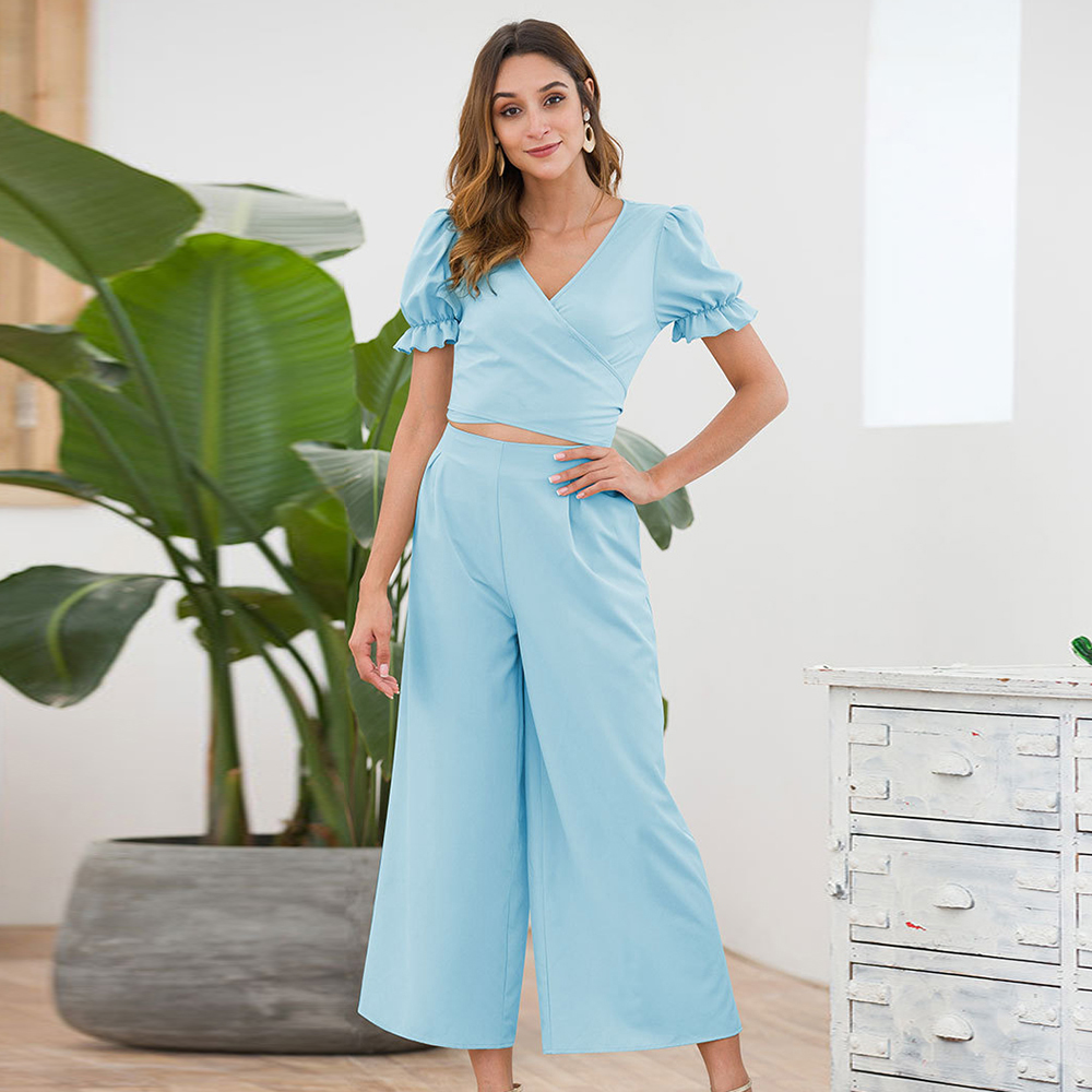 Women's   Jumpsuit   Ladies Leisure Overall Stylish Party Sexy Holiday V Neck Romper Puff Sleeved Wide Leg Cropped