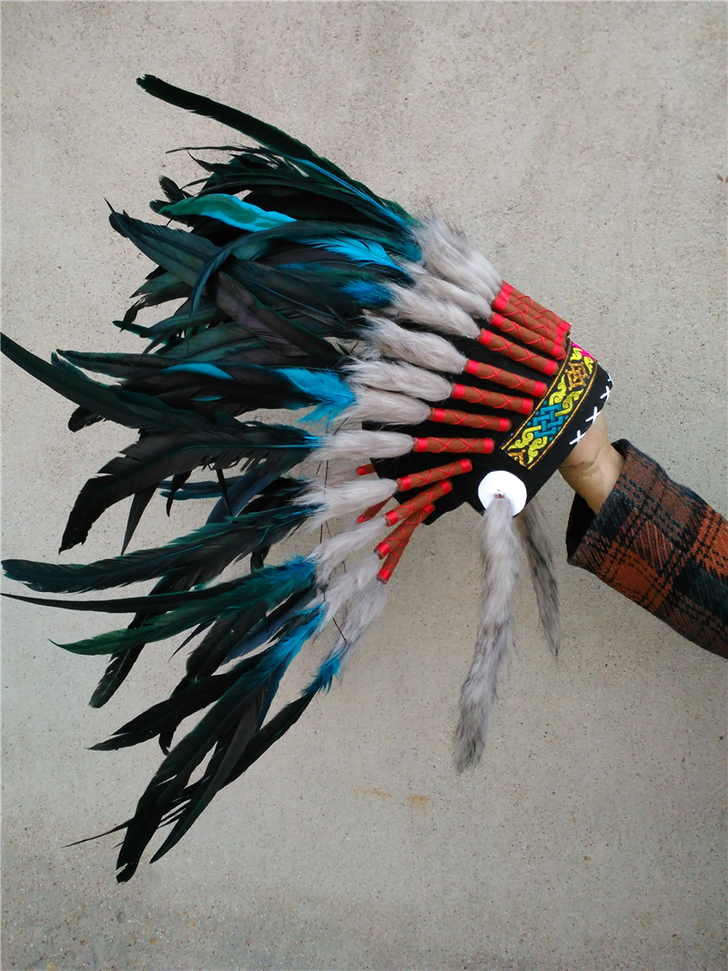 21 inch turquoise feather Headdress feather headpiece halloween feather hat party event supply