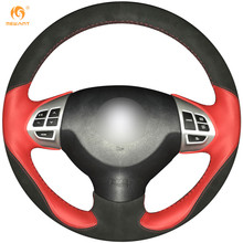 MEWANT Red Leather Black Suede Car Steering Wheel Cover for Mitsubishi Lancer EX Outlander ASX Colt Pajero Sport