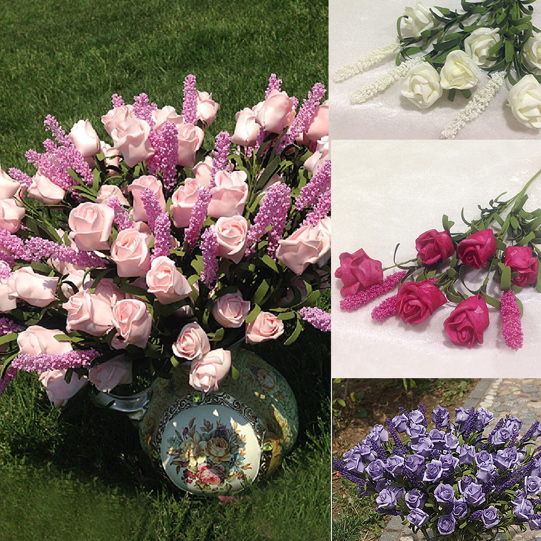 Lovely wedding bridal 9 heads lavender rose artificial for Artificial flowers decoration home