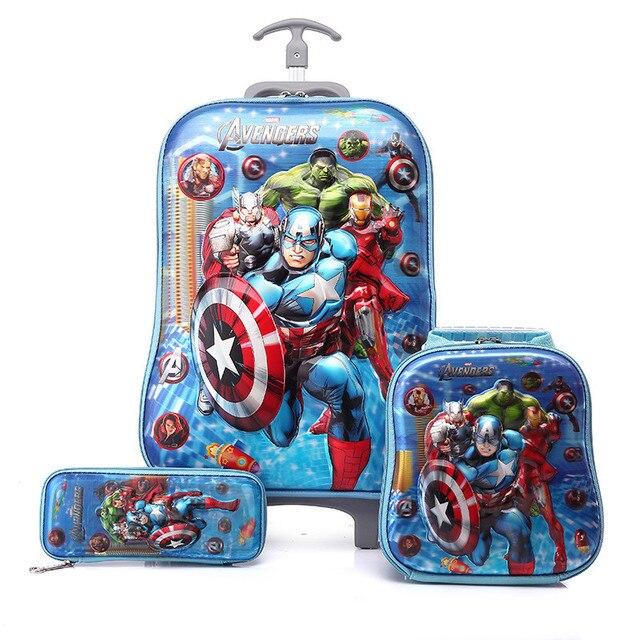 Boys The Avengers 3d Luggage School Bag Set Kid Marvel Travel Trolley
