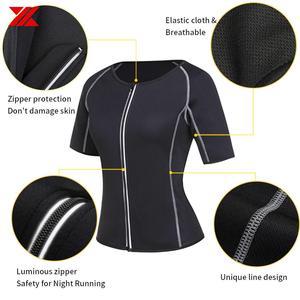 Image 2 - HEXIN ผู้หญิงซาวน่าเสื้อยืดกางเกง 2Pcs ต่อชุด Body Shapers Neoprene กีฬาไขมัน Burn เหงื่อ Slimming ออกกำลังกายเหงื่อเอวเทรนเนอร์