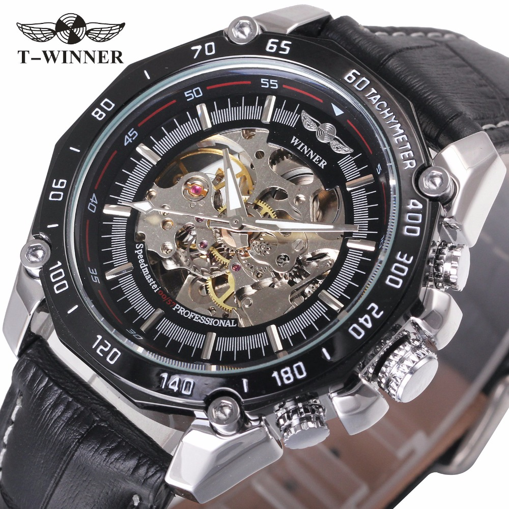 WINNER Cool Black Men Fashion Auto Mechanical Watch Leather Strap Super Case Skeleton Dial Sports Style Wristwatch For Xmas Gift vintage cool black hollow case with roman number dial skeleton steampunk mechanical pocket watch with chain to men women