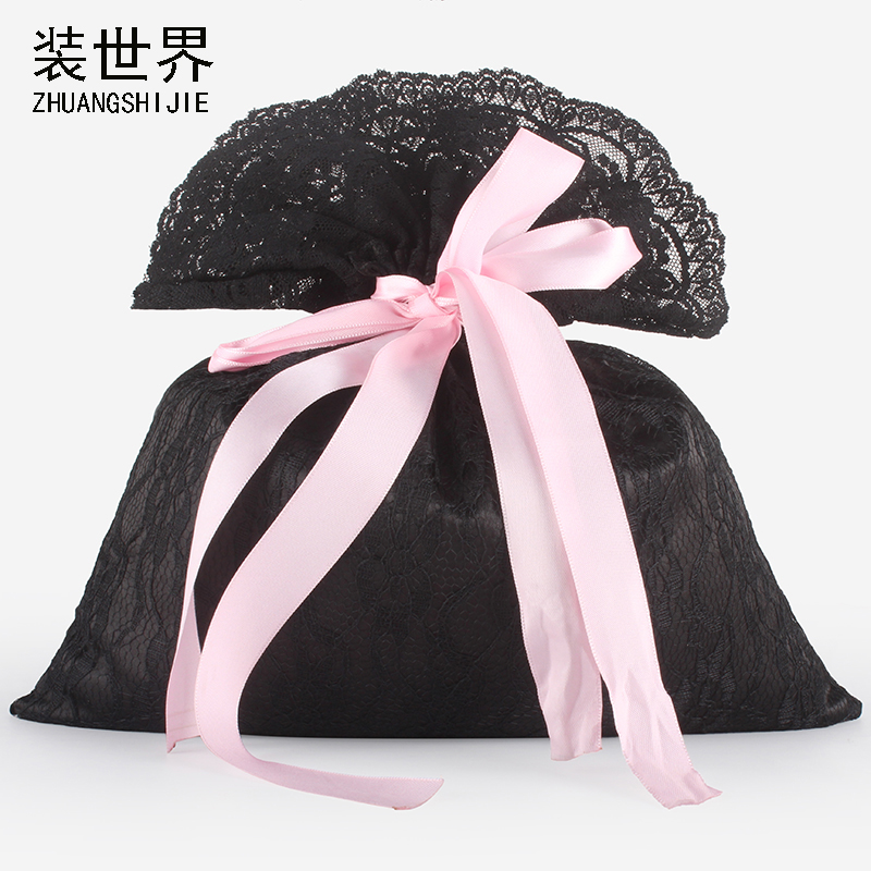 27*30cm Wholesale Satin Silk Lace Drawstring Pouch Packaging Gift Bag Underwear Organizer Bag