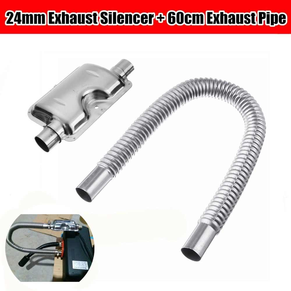 60cm Car Exhaust Pipe Gas Vent Hose 24mm Car Truck Portable Pipe Silencer Exhaust Muffler Clamps Bracket for Diesel Heater