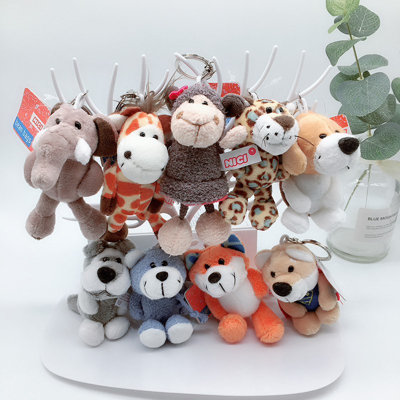 1PC 10cm NICI Jungle Brother Plush Keychains Toys Stuffed Tiger Elephant Plush Animals Phone Key Chain Bag Couple Pendant Doll