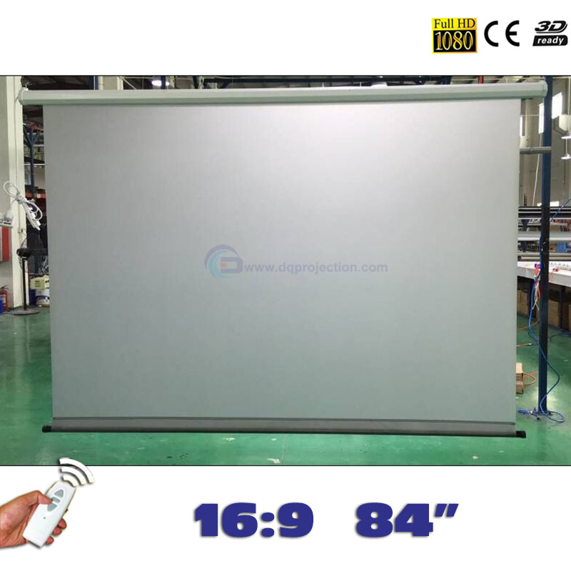 Wholesale! Rear Motorized Projector Screens 84 16:9 Electric Projection Screen pantalla proyeccion for LED LCD HD Projectors wholesale 100 16 9 hd electric projection screen with remote controller motorized projector pantalla proyector screen