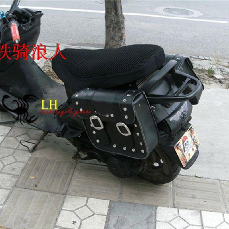 Motorcycle Saddlebag Left Right Saddle Bag Tail Luggage Bags Universal Motorcycle PU Leather Saddlebags Storage Tool Pouches
