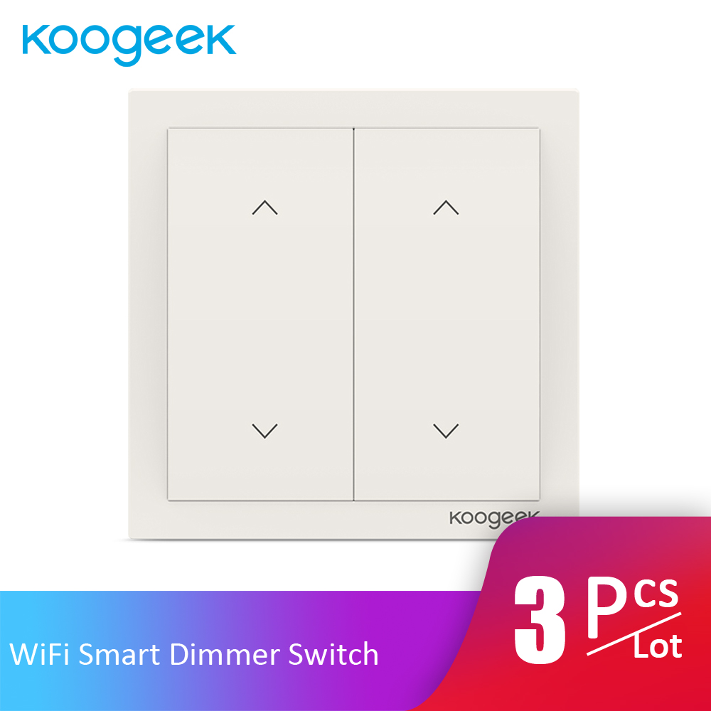 3Pcs/Lot Koogeek 2 Gang WiFi Smart Switch Light Dimmer Wall Switch Remote Control for HomeKit Alexa Google Home Energy Monitor(China)