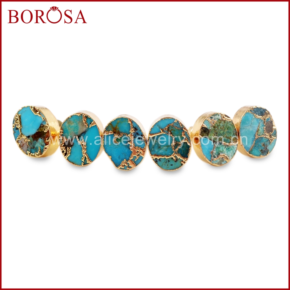 4281b5497 BOROSA 5/10Pairs Gold Color 10x8mm Oval Copper Natural Turquoise Stud  Earrings Jewelry Natural Blue Stone Women Earrings G1546-in Stud Earrings  from Jewelry ...