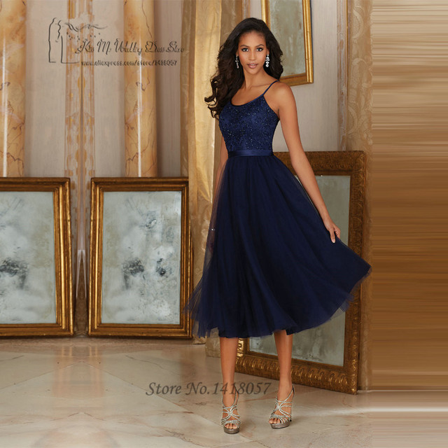 9e6623e840f34 Vintage Navy Blue Lace Bridesmaid Dresses Short Knee Length Wedding Party  Dress Tulle Low Back Spaghetti Straps 2017 Vestido