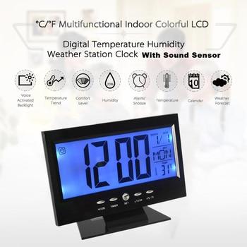 Black LCD Digital Table Clock Calendar Temperature Desktop Display Sound  Control Alarm Clock
