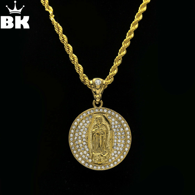 Luxury virgin mary pendant necklace for men gold color religious luxury virgin mary pendant necklace for men gold color religious prayer jewelry hip hop round cz aloadofball Choice Image