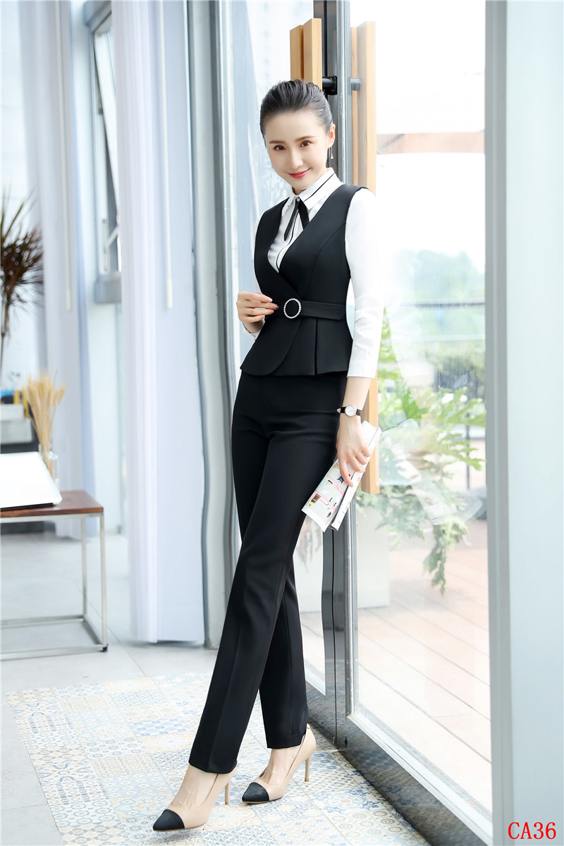 Ol 2 Femmes Wasitoat Uniforme Bureau Pièce Gilets Et Mode Pantalon Ensembles amp; Styles Noir Top Dames YZ4ZASF