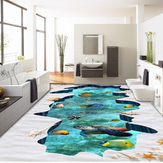3D Mural Wallpaper Good Quality Hot sale 3D floor Wallpaper Sea Fish Design For Floor Decor