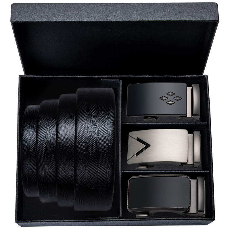 Hi-Tie Business Style Men's Genuine Leather Automatic Buckle   Belt   Strap Black 150cm Long Fashion Alloy Buckle Wedding   Belts
