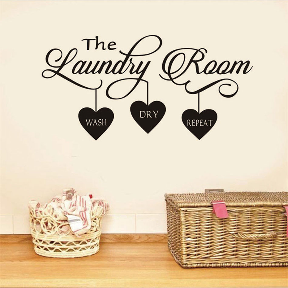 Laundry Room Quote Wall Sticker/Decorative Mural Hearts Home Decor Popular Sign Stickers Vinyl Art Decal Poster Decoration W421(China)