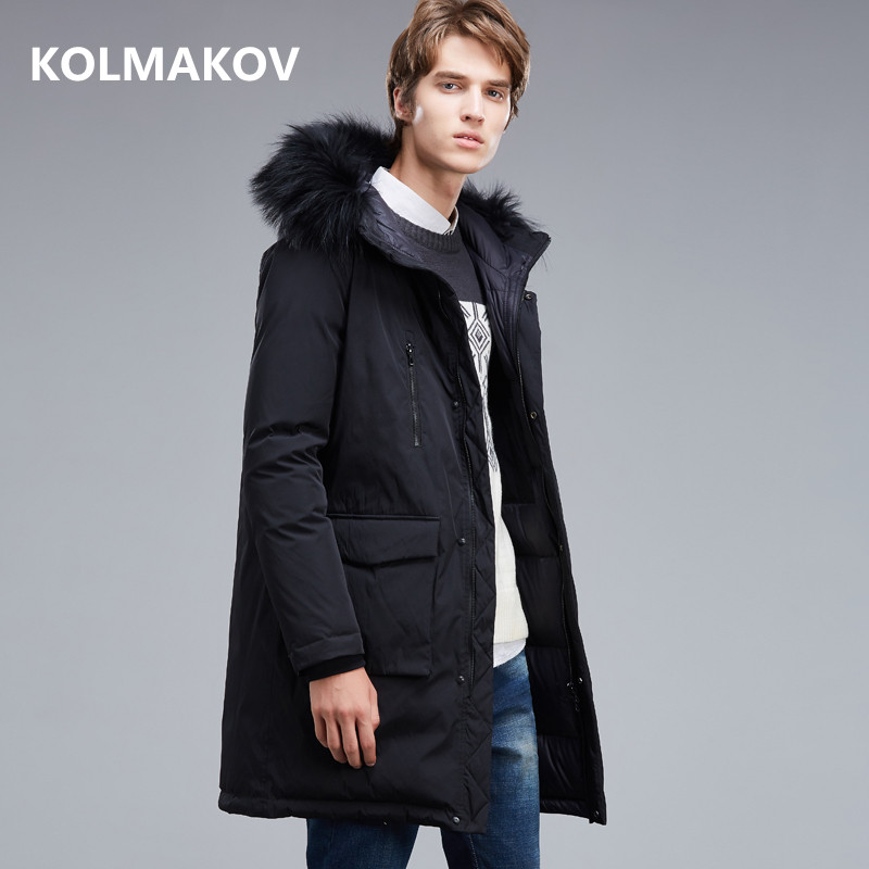 2018 winter coats Mens casual Raccoon collar Hooded 90% white Goose down down coats jackets Mens thick Down Jackets men