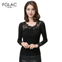 New Arrivals 2017 Spring Women Blouses Fashion Elegant Slim Mesh Tops Sexy Embroidery Patchwork Women Tops