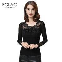 Neuheiten 2017 Frühling Frauen blusen Mode Elegantes Nehmen mesh-oberseiten-bluse Sexy Stickerei patchwork frauen tops plus größe schwarz hemd