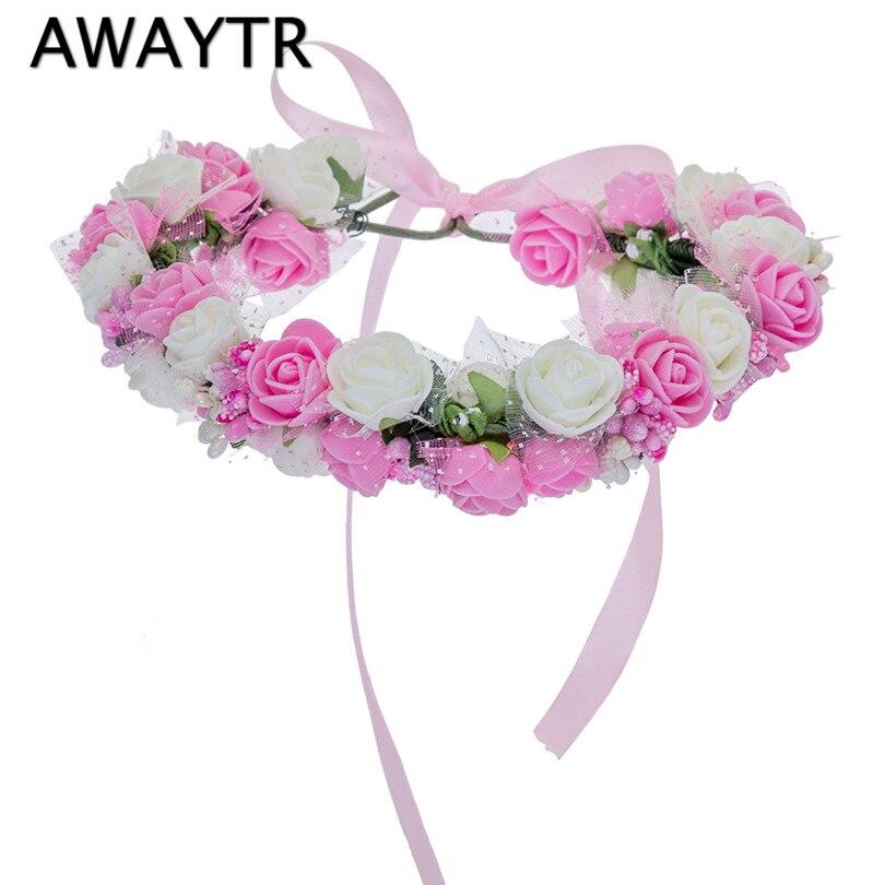 Для женщин ободок цветы на голове Awaytr Обувь для девочек Цветок Корона Венок Свадебные Женские аксессуары для волос двойной пены Роза повязка на голову с цветочным узором