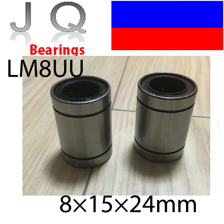 JQ Bearings Free shipping LM8UU Linear Bushing 8mm CNC Linear Bearings 8*15*24MM 10pcs/lot free shipping lm60uu 60mm linear bushing cnc linear bearings