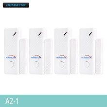 Sensores de puerta/ventana inalámbricos HOMSECUR 433MHz 4 Uds A2 1 para sistema de alarma HOMSECUR