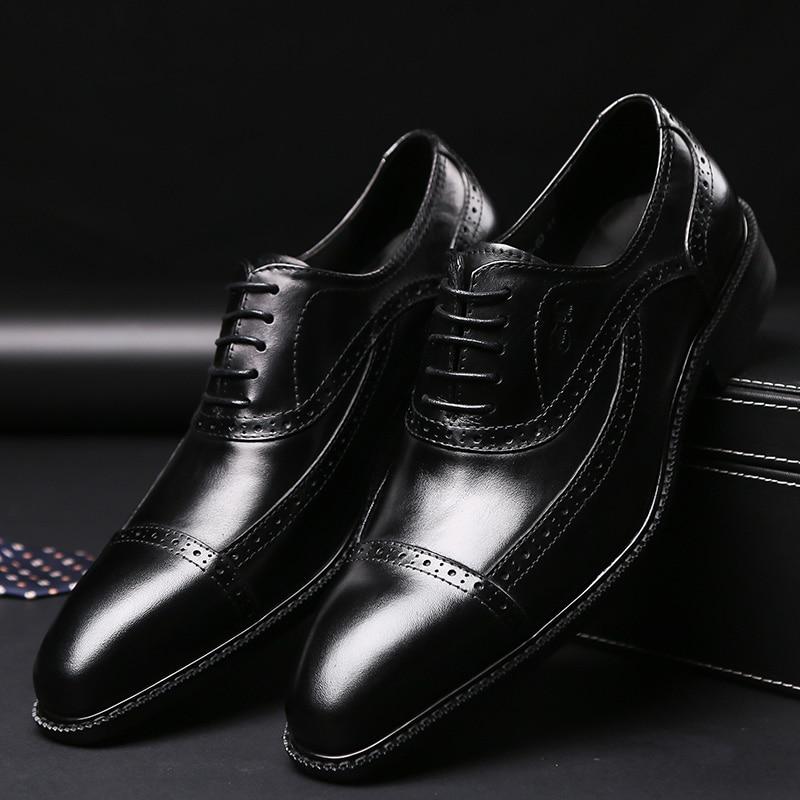 2019 marke Neue Echtem Leder Männer Formale Schuhe Spitz Spitze Bis Geschäfts Männer Oxford Schuhe Schwarz Braun Luxus Schuhe männlichen-in Formelle Schuhe aus Schuhe bei  Gruppe 2