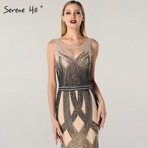 Image 4 - Dubai Latest Design Blue Gold Sleeveless Evening Dresses 2020 Beading Sequined Luxury Evening Dress Long Real Photo LA60783