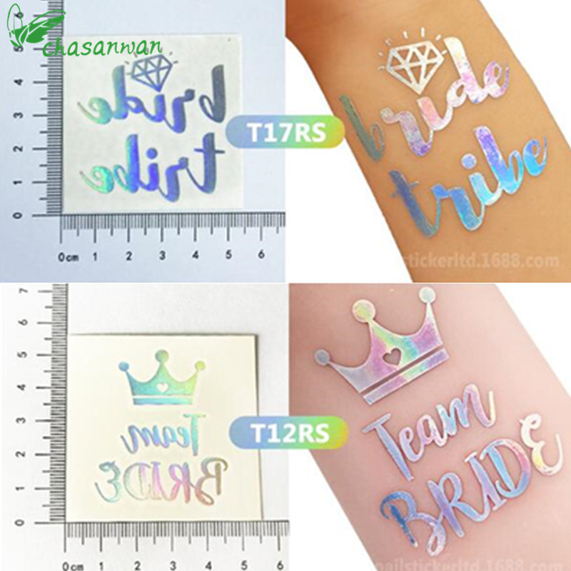 1Pcs Rainbow Silver Team Bride Temporary Tattoo Stickers Bachelorette Party Bride To Be Bridal Shower Party Wedding Decoration,Q