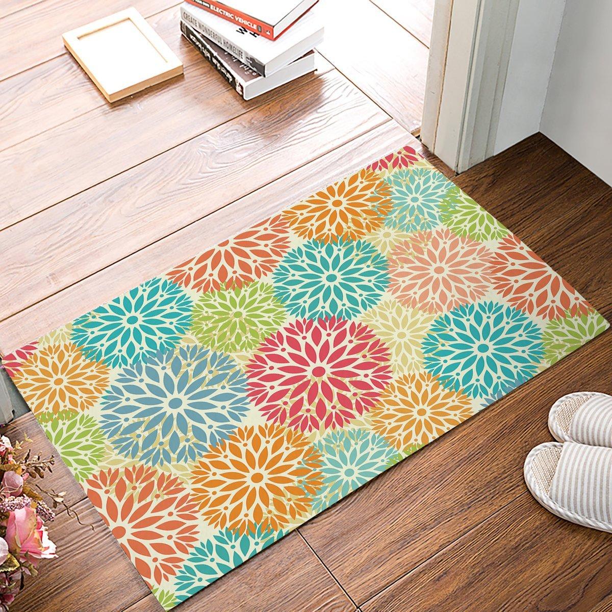 Colorful Flower Decorative Pattern Door Mats Kitchen Floor