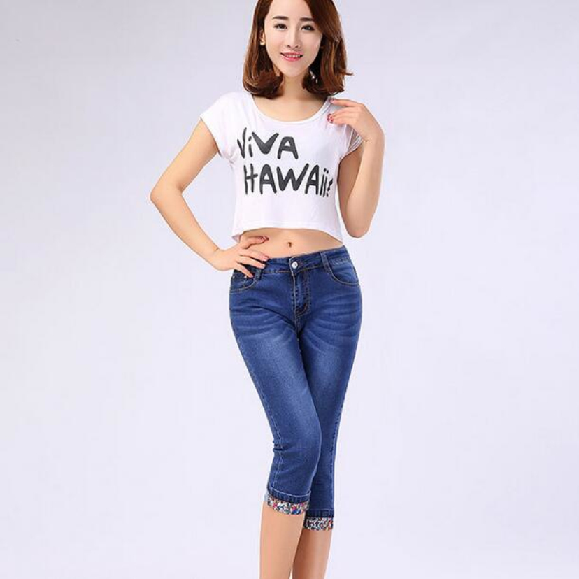 Aliexpress hot style Sexy Summer wear the new big yards han edition pants jeans fashion lady